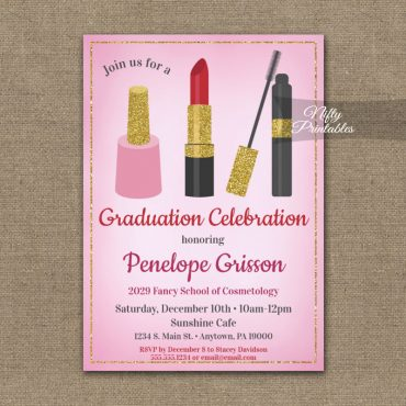 Graduation Party Invitation Makeup Beauty Cosmetics PRINTED