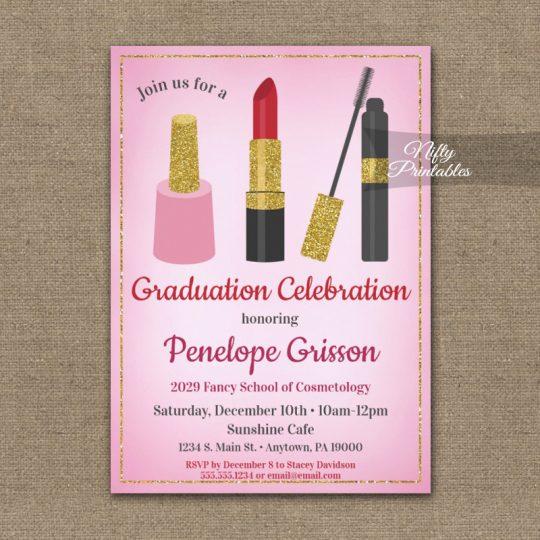 Graduation Party Invitations Makeup Beauty Cosmetics PRINTED