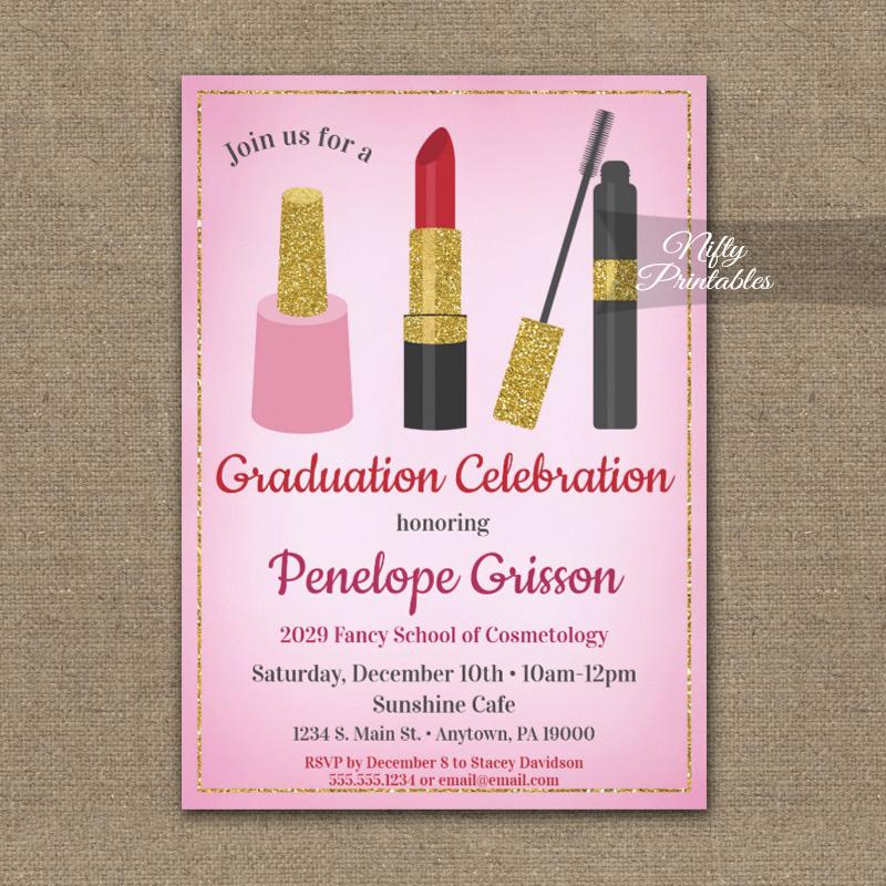 Graduation Party Invitation Makeup Beauty Cosmetics PRINTED - Nifty Printables