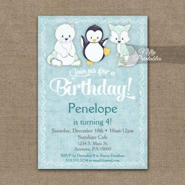 Birthday Invitation Cute Winter Animals PRINTED