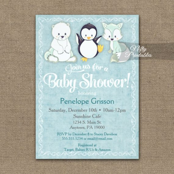 Baby Shower Invitation Cute Winter Animals PRINTED