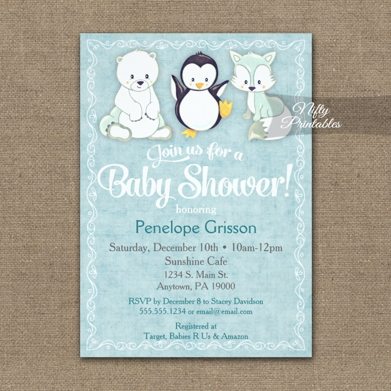 Baby Shower Invitation Cute Winter Animals PRINTED