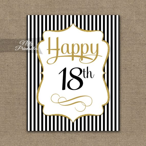 18th Birthday Sign - Black Gold