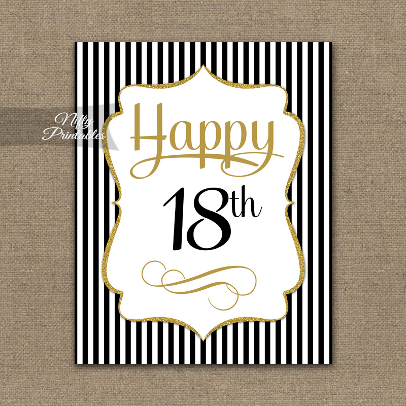 18th Birthday Sign Black Gold