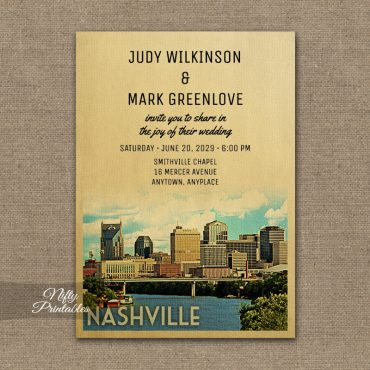 Nashville Tennessee Wedding Invitations PRINTED