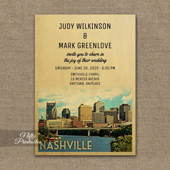 Nashville Tennessee Wedding Invitation PRINTED