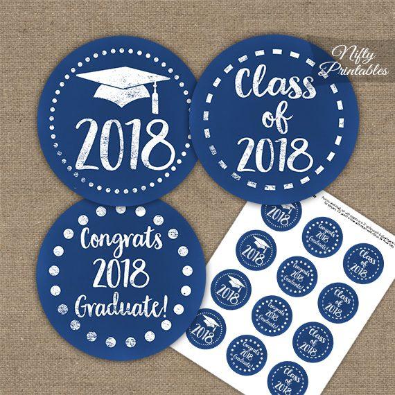 Graduation Cupcake Toppers - Blue Chalkboard 2018
