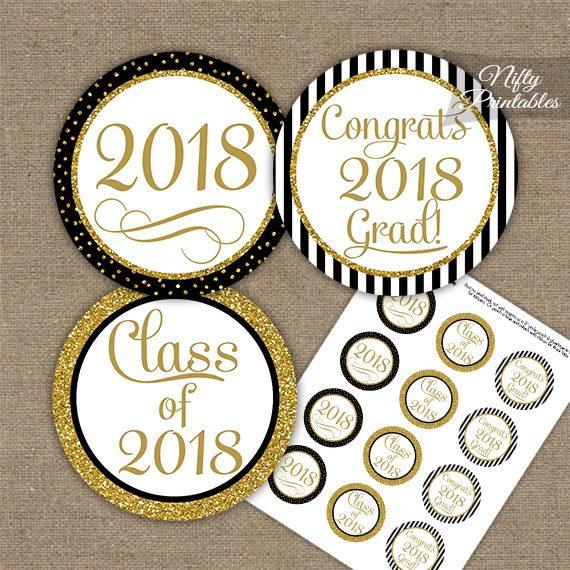 Graduation Cupcake Toppers - Black Gold Elegant 2018