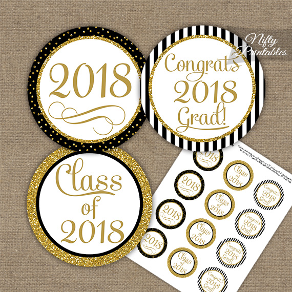 Graduation Cupcake Toppers - Black Gold Elegant 2018