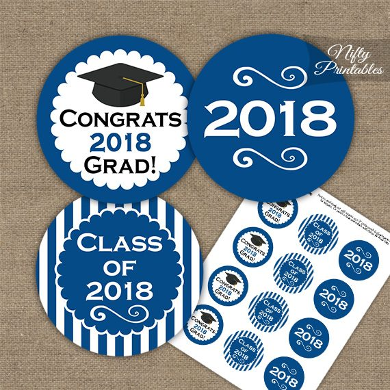 Graduation Cupcake Toppers - Royal Blue 2018