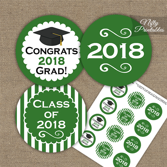 Graduation Cupcake Toppers - Green 2018