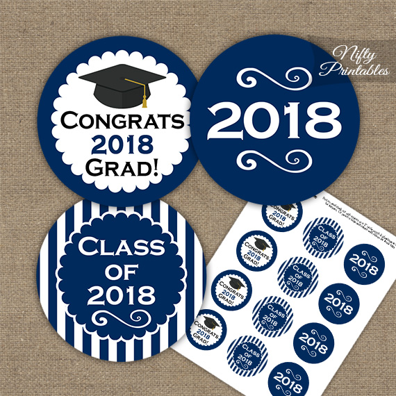 Graduation Cupcake Toppers - Navy Blue 2018