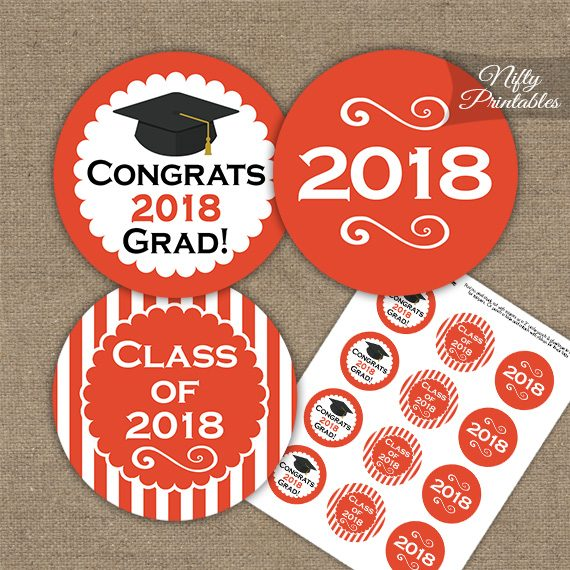 Graduation Cupcake Toppers - Orange 2018