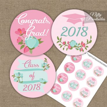 Graduation Cupcake Toppers - Pink Mint Floral 2018