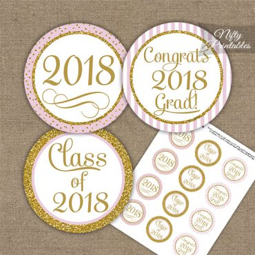 Graduation Cupcake Toppers - Pink Gold Elegant 2018