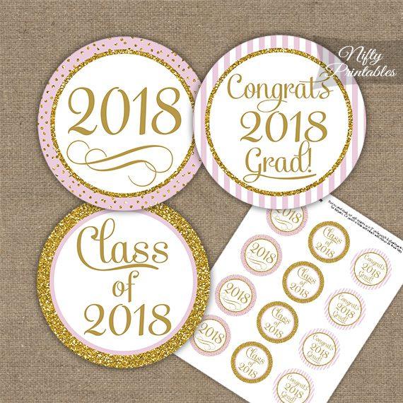 Graduation Cupcake Toppers - Pink Gold Elegant 2018