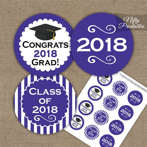 Graduation Cupcake Toppers - Purple 2018