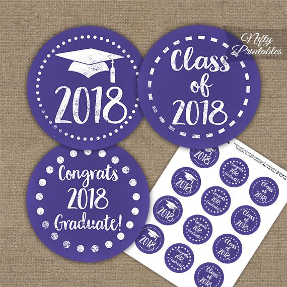 Graduation Cupcake Toppers - Purple Chalkboard 2018