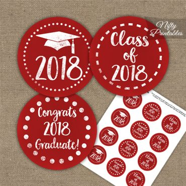 Graduation Cupcake Toppers - Red Chalkboard 2018