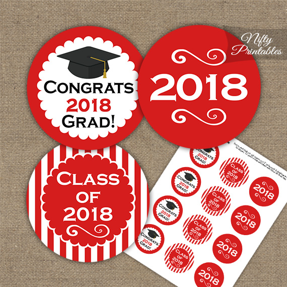 Graduation Cupcake Toppers - Red 2018