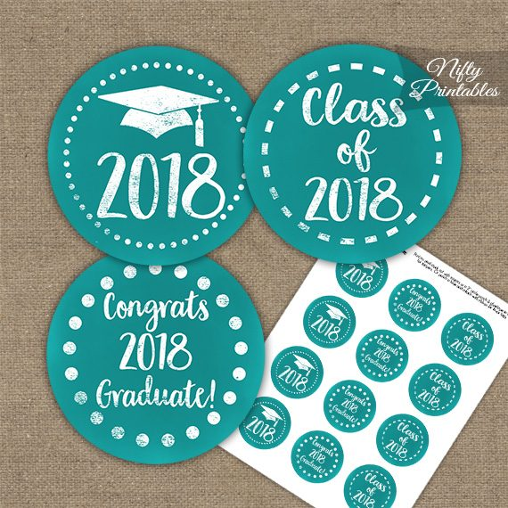 Graduation Cupcake Toppers - Turquoise Aqua 2018