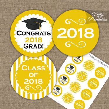 Graduation Cupcake Toppers - Yellow 2018