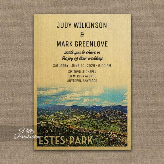 Estes Park Colorado Wedding Invitation PRINTED