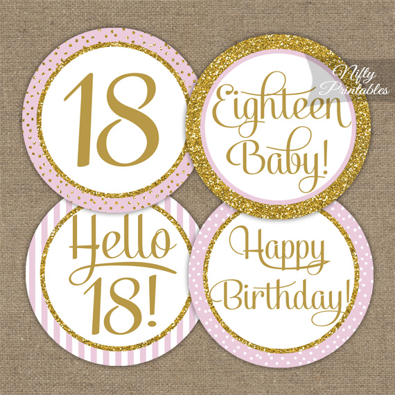 Awesome Printable 18Th Birthday Cupcake Toppers Pink Gold Personalised Birthday Cards Xaembasilily Jamesorg