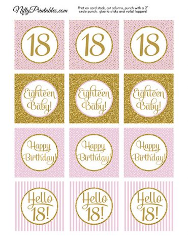 18th Birthday Cupcake Toppers - Pink Gold