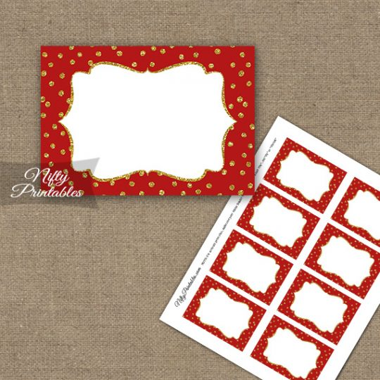 Labels - Red Gold Dots