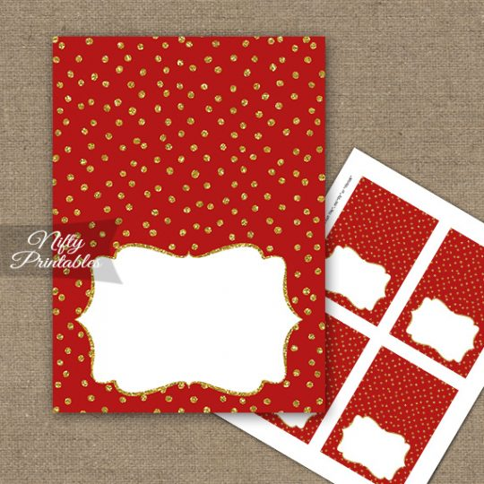 Buffet Tent Cards - Place Cards - Red Gold Dots