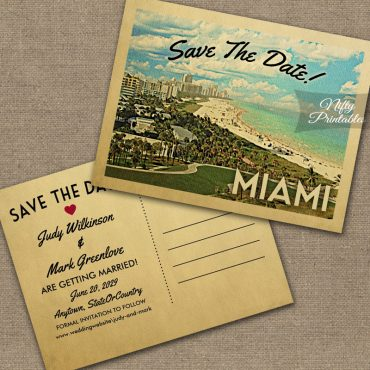 Miami Florida Save The Date Coast PRINTED