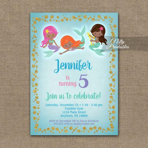 Birthday Invitation Mermaids African American PRINTED
