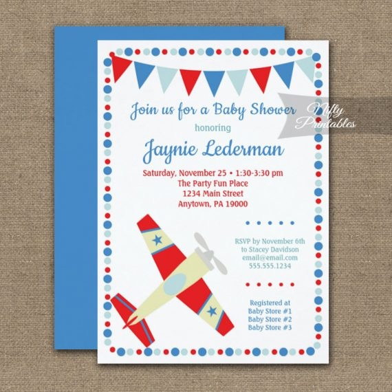 Baby Shower Invitation Airplane Cute PRINTED