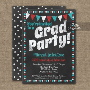 Graduation Party Invitation Aqua Red Chalkboard PRINTED