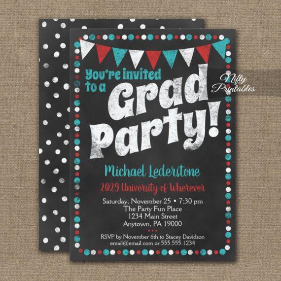 Graduation Party Invitation Aqua Red Chalkboard PRINTED
