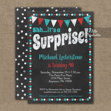 Surprise Birthday Invitation Aqua Red Chalkboard PRINTED