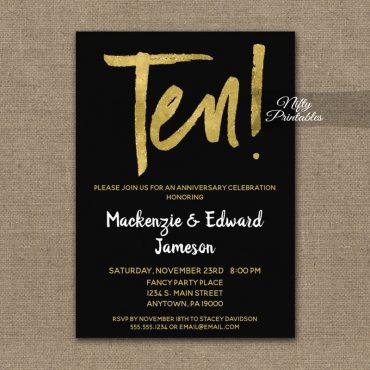 10th Anniversary Invitation Black Gold Script PRINTED