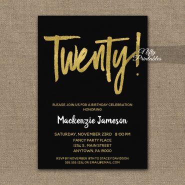 20th Birthday Invitation Black Gold Script PRINTED