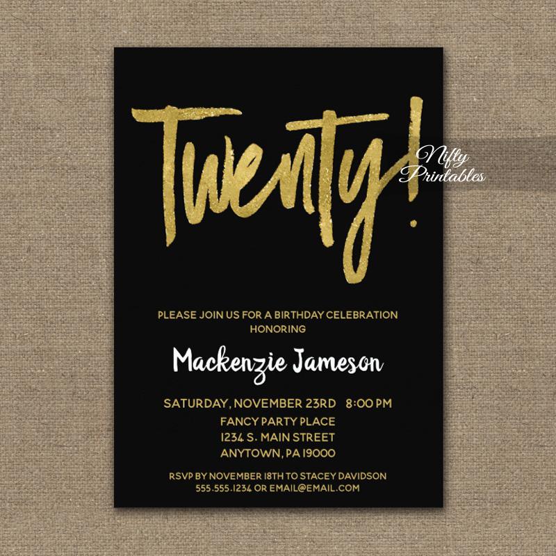 20th Birthday Invitation Black Gold Script PRINTED - Nifty ...