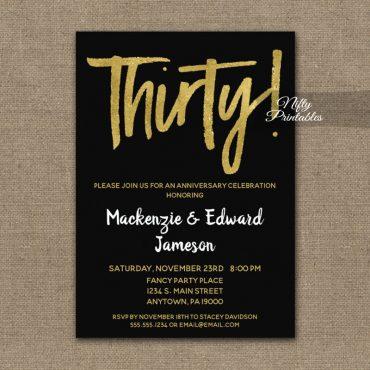 30th Anniversary Invitation Black Gold Script PRINTED