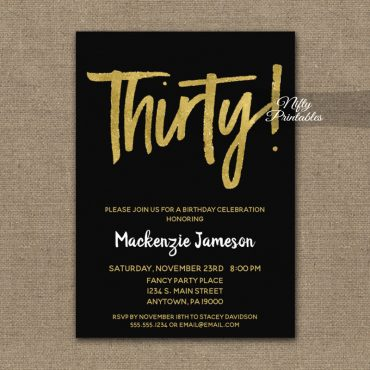 30th Birthday Invitation Black Gold Script PRINTED