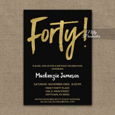 40th Birthday Invitation Black Gold Script PRINTED