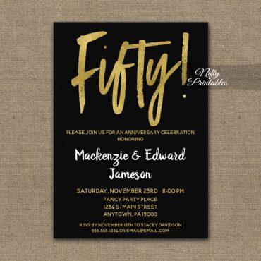 50th Anniversary Invitation Black Gold Script PRINTED