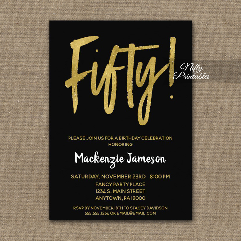 50th Birthday Invitation Black Gold Script PRINTED