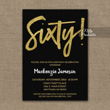 60th Birthday Invitation Black Gold Script PRINTED