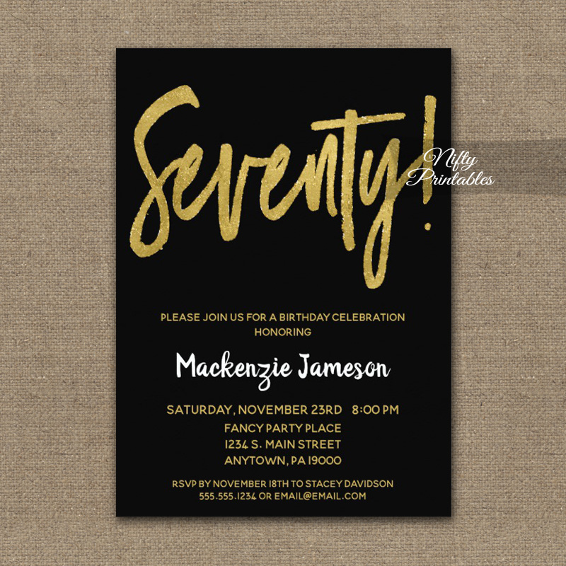70th Birthday Invitation Black Gold Script PRINTED