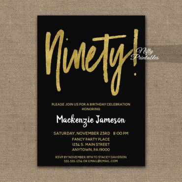 90th Birthday Invitation Black Gold Script PRINTED