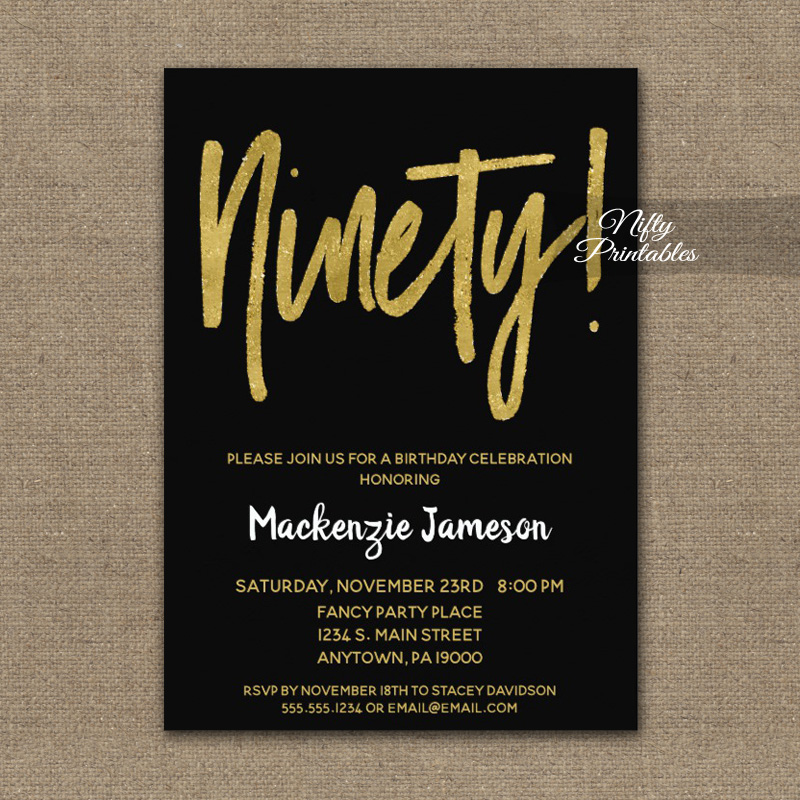 90th Birthday Invitation Black Gold Script PRINTED