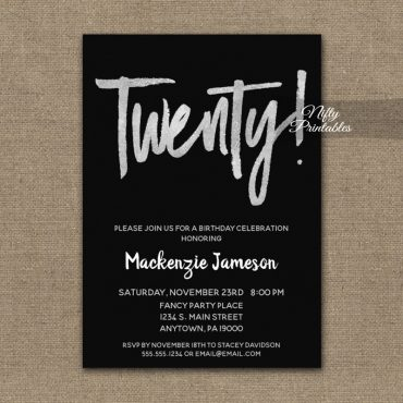 20th Birthday Invitation Black Silver Script PRINTED